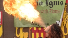 Photo of a fire breather at New Jersey Ren Faire, provided as representation of the Festival of Feylf