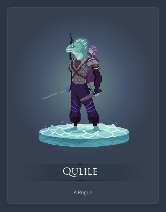Quille is a swashbuckling fishperson who stabs with a rapier and then a dagger.