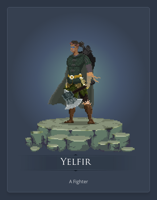 Yelfir is a goliath fighter with a big axe