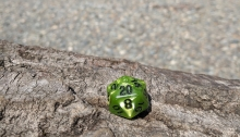 A green die with black ink rests on a log showing the 20 face. Background has river rock, a river, and a forest all out of focus.