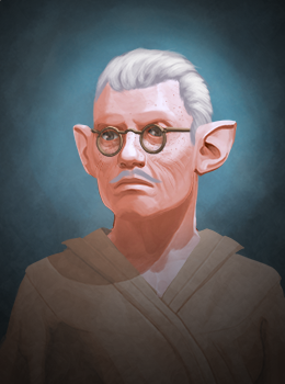 This image shows the bust of an older male halfling with somewhat receding grey hair that is swept back. He wears glasses and has a thin mustache. His clothing looks like it could be a rough robe or shawl shirt. It is light brown.